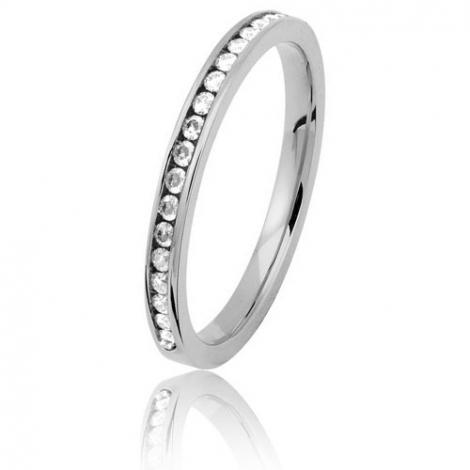 (2) Alliance diamants sertie rail - 0.20 ct - or blanc 2 mm - Annabelle - 11070020G