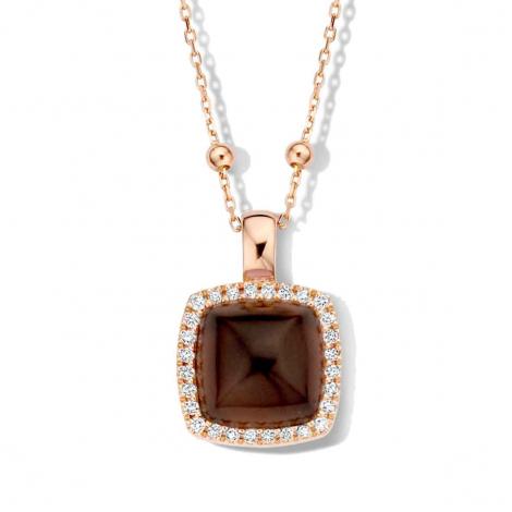 (2) Pendentif quartz sur oeil de tigre rouge et diamants One More  - Pantelleria - 062373VN