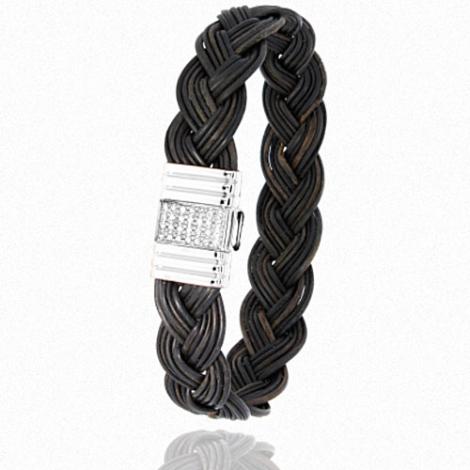 Albanu - Bracelet en Poil d'éléphant acier et diamant g -  Kenza - 696DTELAC