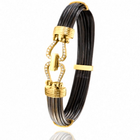 bracelet poils d 39 l phant or et diamant albanu 730delorjaune. Black Bedroom Furniture Sets. Home Design Ideas