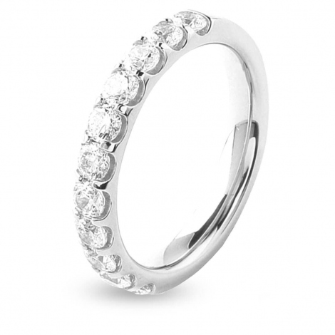 Alliance 11 Diamants Prestige serti griffes 1 ct  en Platine 950 - Solène