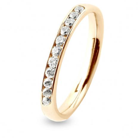 Alliance 11 diamants Prestige serti rail 0.17 ct  en Or Jaune