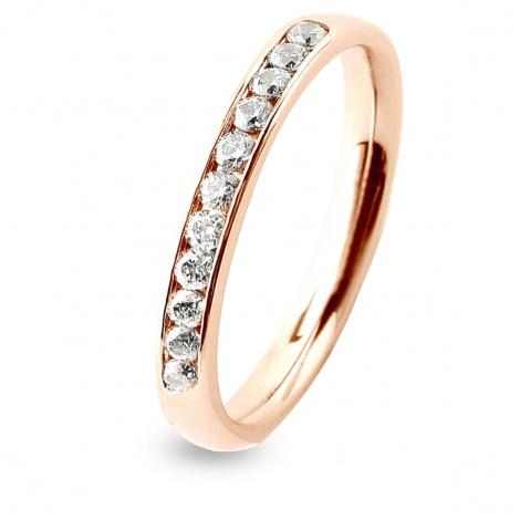 Alliance 11 diamants Prestige serti rail 0.2 ct Morgane en Or Rose