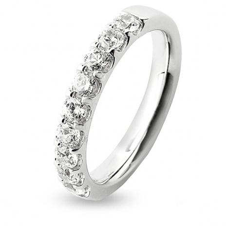 Alliance 9 Diamants serti griffes 0.75 ct Bonheur en Or Blanc - 7BE42809WD