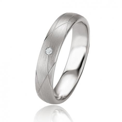 Alliance argent diamant large de 4.5 mm Adèle - 08073