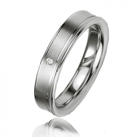 Alliance argent diamant large de 4.5 mm Angélina - 08019