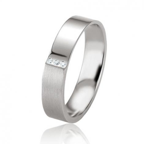 Alliance argent diamant large de 4.5 mm Ariella - 08083
