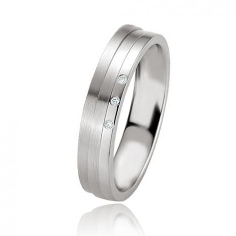 Alliance argent diamant large de 4.5 mm Heidi - 08077