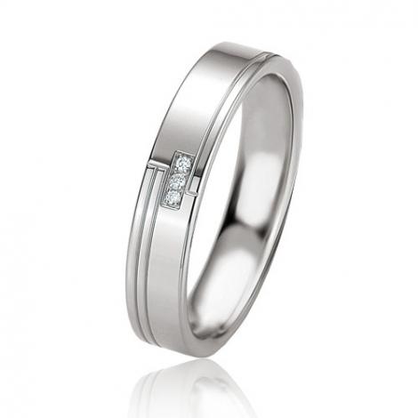 Alliance argent diamant large de 4.5 mm Hélène - 08067