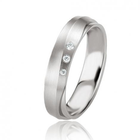 Alliance argent diamant large de 4.5 mm Lucie - 08079