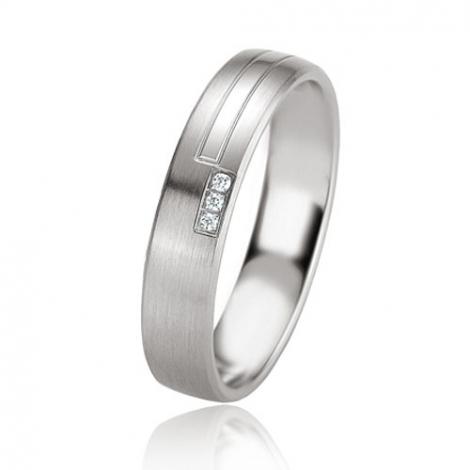 Alliance argent diamant large de 4.5 mm Margot - 08087