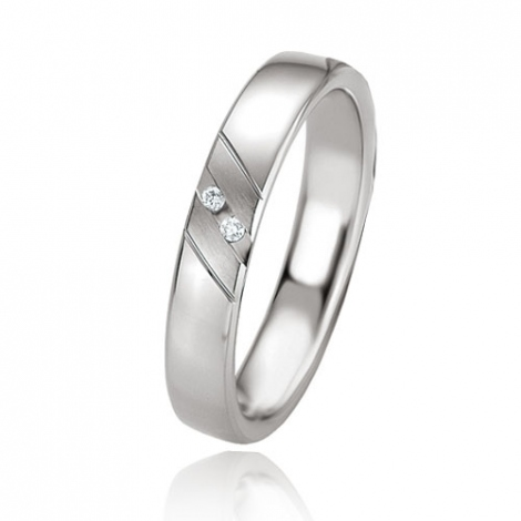 Alliance argent diamant large de 4 mm Cléa - 08085