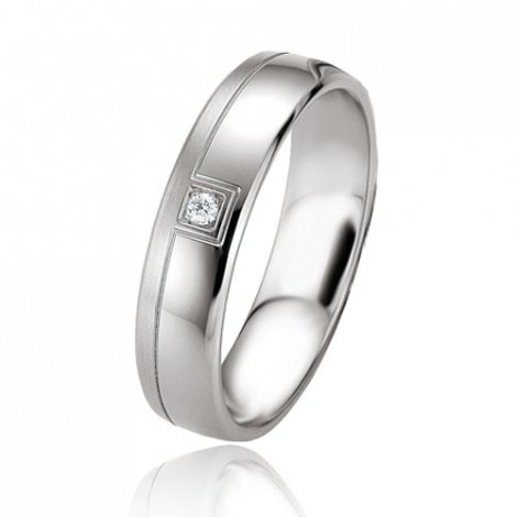 Alliance argent diamant large de 5 mm Kimberley - 08089