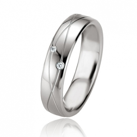 Alliance argent diamant large de 5 mm Lurilla - 08075