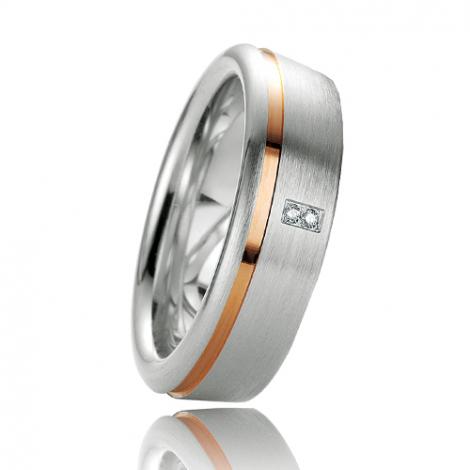 Alliance argent diamant large de 6.5 mm Karine - 08029