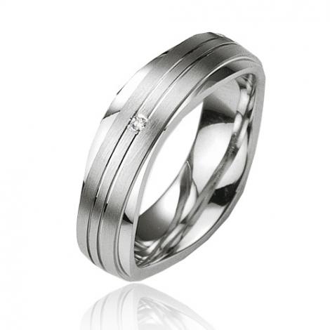 Alliance argent diamant large de 6.5 mm Loana - 08013