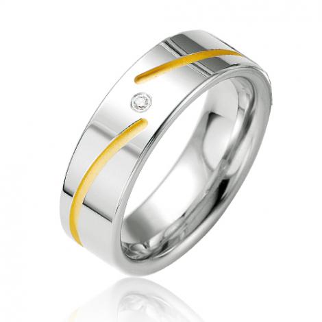 Alliance argent diamant large de 6.5 mm Oxana - 08035