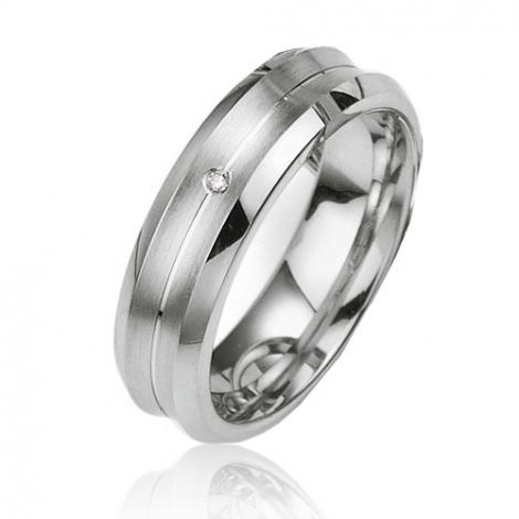 Alliance argent diamant large de 6 mm Élisabelle - 08023