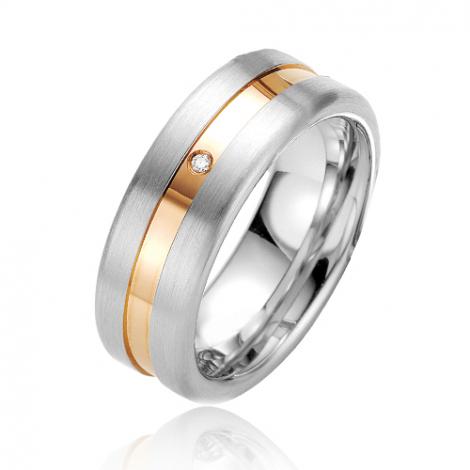 Alliance argent diamant large de 7.5 mm Jessica - 08027