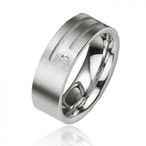 Alliance argent diamant large de 7 mm Adrielle - 08003