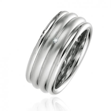 Alliance argent diamant large de 9 mm Alicia - 08037