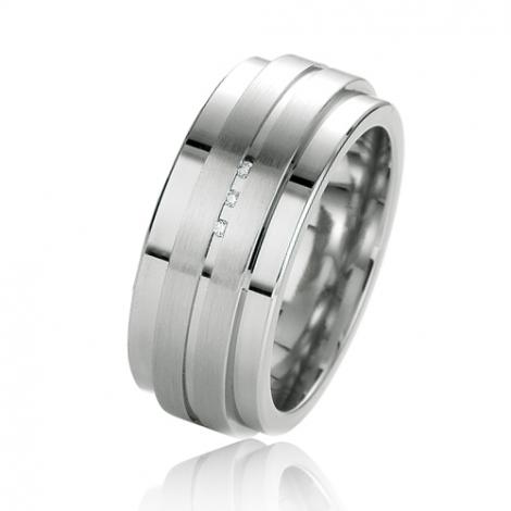 Alliance argent diamant large de 9 mm Debora - 08039