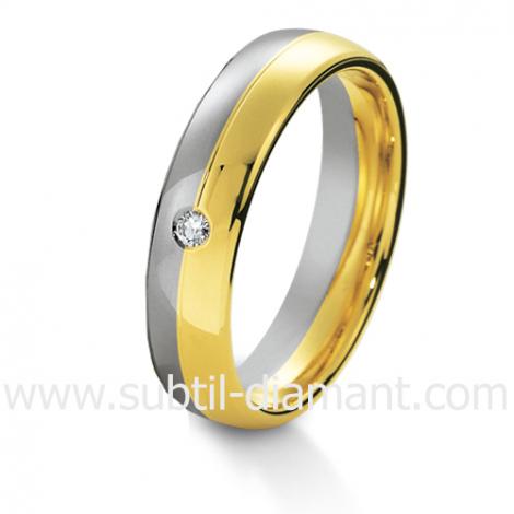 Alliance Azélie en 2 Ors et diamants 5 mm - 04049