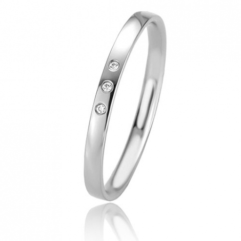 Alliance Basic Lignt Slim Érika 2 mm Or Blanc diamant-04307