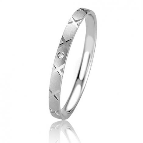 Alliance Basic Lignt Slim Exquise 2 mm Or Blanc diamant-04317