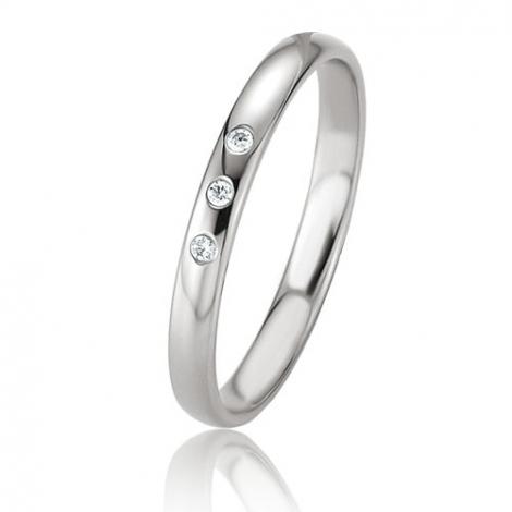 Alliance Basic Lignt Slim Laélia 2.5 mm Platine 950 diamant-04315PT