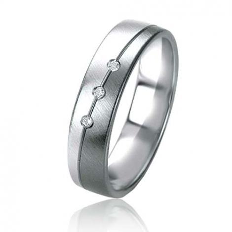 Alliance Black & White Aliya 5 mm Or et Ruthenium diamant -07155