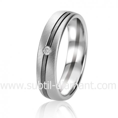 Alliance Black & White Ambellina 6.5 mm Or et Ruthenium diamant -06321