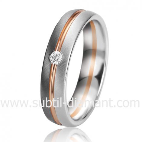 Alliance Black & White Camille 5 mm Or et Ruthenium diamant -06331