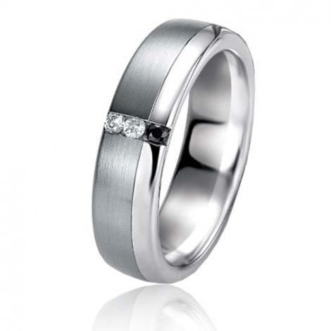 Alliance Black & White Claire 5.9 mm Or et Ruthenium diamant -06407