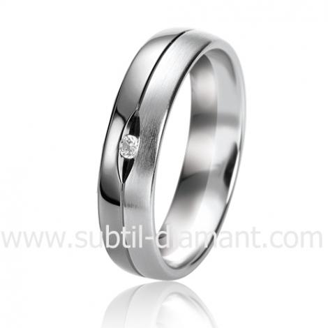 Alliance Black & White Giulia 5 mm Or et Ruthenium diamant -06303