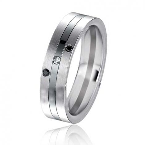 Alliance Black & White Irina 5.4 mm Or et Ruthenium diamant -06413