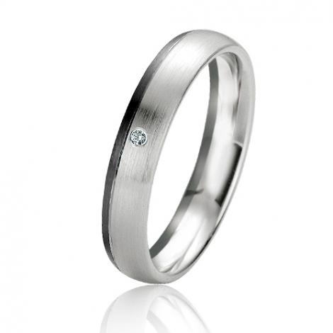 Alliance Black & White Jade 4 mm Or Blanc diamant -06105
