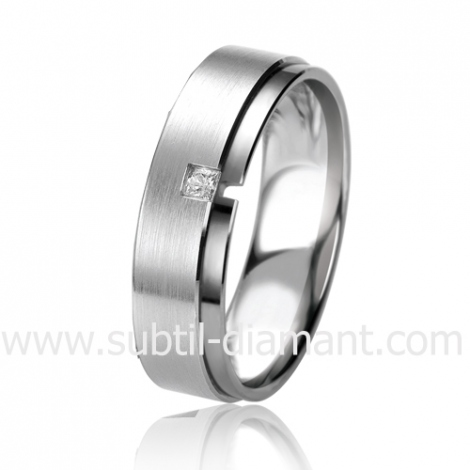 Alliance Black & White Juliette 6 mm Or Blanc diamant -06309