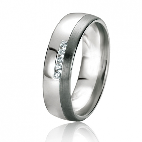 Alliance Black & White Karine 6 mm Or Blanc diamant -06133