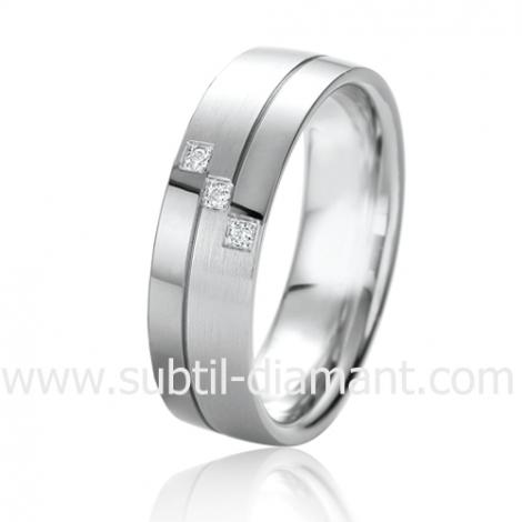 Alliance Black & White Kélianne 6 mm Or et Ruthenium diamant -06325