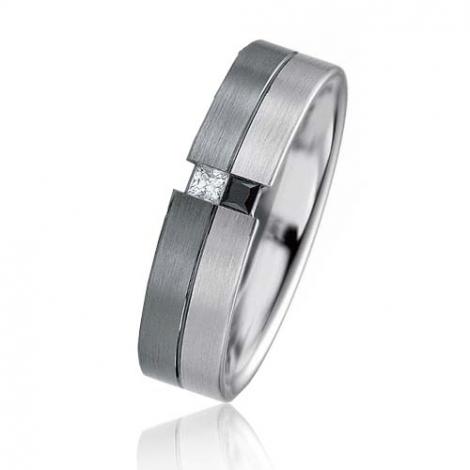 Alliance Black & White Lucie 5.4 mm Or et Ruthenium diamant -06401