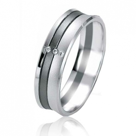 Alliance Black & White Meredith 5.5 mm Or et Ruthenium diamant -07153