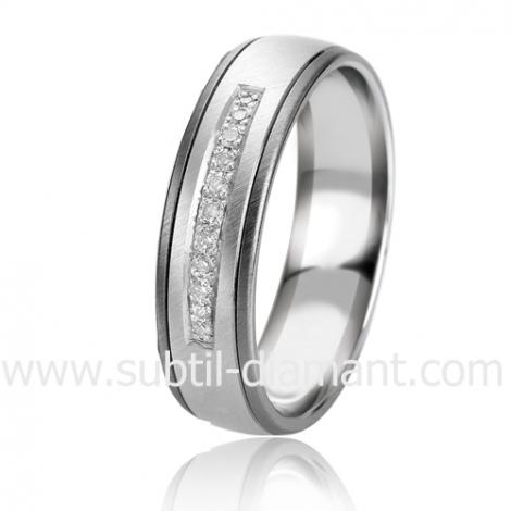 Alliance Black & White Océane 5.5 mm Or et Ruthenium diamant -06311