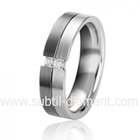 Alliance Black & White Oxanna 6.5 mm Or et Ruthenium diamant -06323