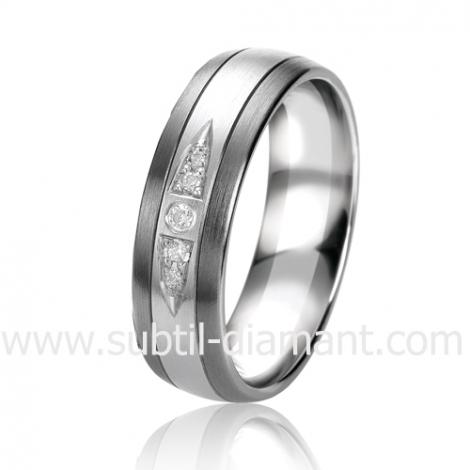 Alliance Black & White Romance 6 mm Or et Ruthenium diamant -06313