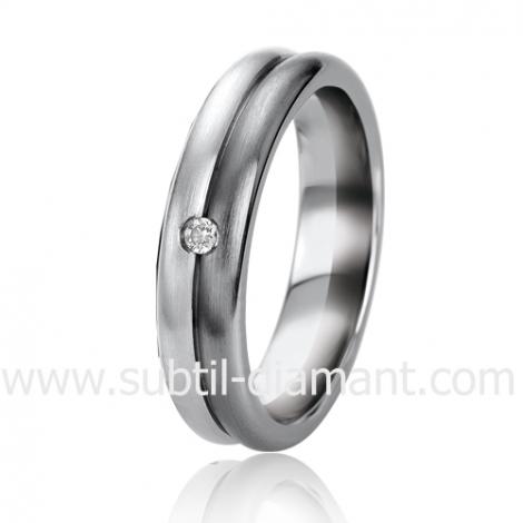 Alliance Black & White Rosemary 5.5 mm Or et Ruthenium diamant -06301
