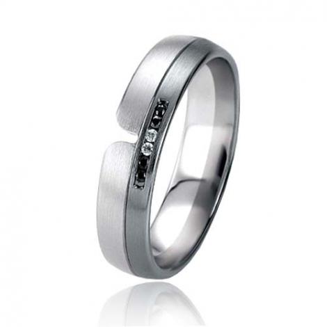 Alliance Black & White Sabrina 4.9 mm Or et Ruthenium diamant -06403
