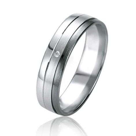 Alliance Black & White Sarah 5 mm Or et Ruthenium diamant -07165