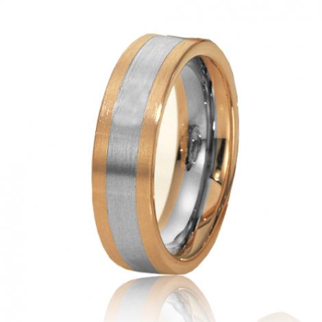 Alliance de mariage en 2 Ors 6 mm