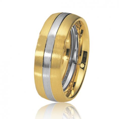 Alliance de mariage en 2 Ors 7 mm